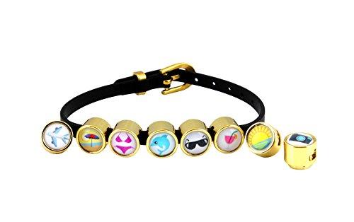 CHARMOJIS Emoji Schmuck - Leder Armband mit Motiv Summer Essentials - Schwarz - Größe L (18-22 cm)