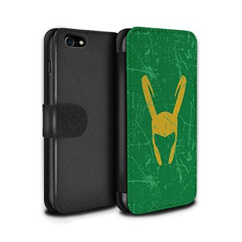 Stuff4® PU-Leder Hülle/Case/Tasche/Cover für Apple iPhone 7 / Loki Helm Inspiriert Muster/Antiheld Comic-Kunst Kollektion (4 Fälle Marvel-comic-iphone)
