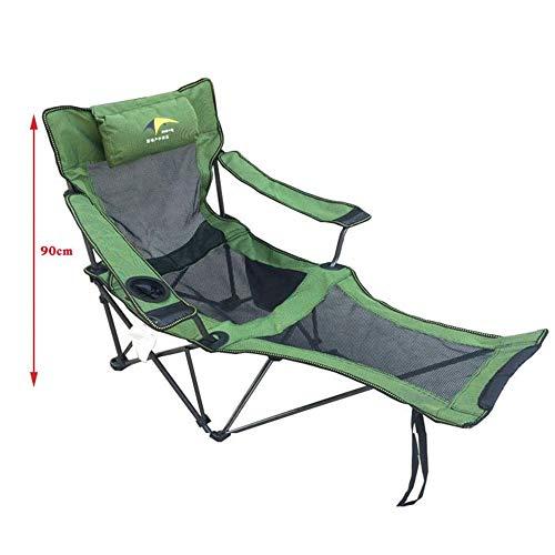 Klappbett Outdoor-Freizeit-Luxus gepolstert Falten Camping Bad Chair Heavy Duty hohe Rücken Direktoren Cup Holder Kinderbett (Farbe : Grün, Größe : 168 * 56 * 69cm)