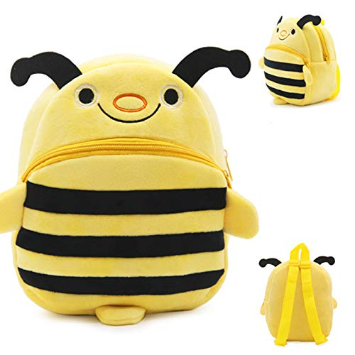 TianranRT★ Zaino peluche per bambini con guinzaglio potenziato,Zaino dell'ape di asilo del giocattolo della peluche di bambini di 1-3 anni,Viaggio in borsa con te,Giallo
