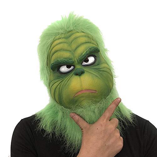 TAOtTAO Parodie-Maske Grüne Masken Cosplay Grinch Mask Schmelzen Gesicht Latex Kostüm Sammlerstück Prop Scary Mask Spielzeug (B)
