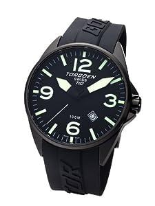Torgoen T10301 - Reloj de mujer de cuarzo, correa de caucho color negro de Torgoen