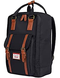 ISIYINER Casual Backpack Durable School Bag Rucksack Waterproof Nylon Daypack for Shopping Outdoor Travel Hiking Unisex 15inch Black