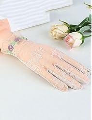 Verano femenino Anti-UV guantes de protección solar Thin Thin hielo seda Encaje guantes de pantalla táctil de unidad Sección delgada de los guantes de primavera Ride ( Color : 5 )