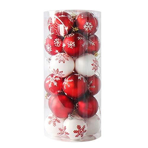Cosanter 24 pezzi palline decorative per l'albero di natale materiale plastico ciondolo decorazione nuovo anno(rosso e bianco)