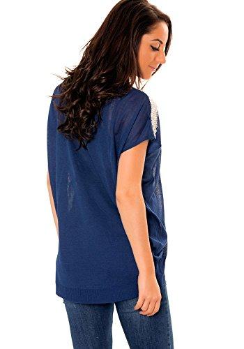 dmarkevous - Pull Bleu Marine femme sans manches à sequin aux épaules Bleu Marine