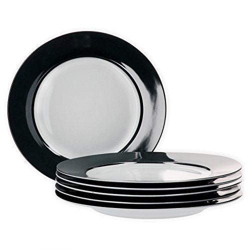 Van Well 6er Set Speiseteller Essteller flach Serie Vario Porzellan - Farbe wählbar, Farbe:schwarz