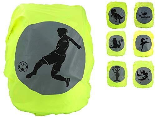 EANAGO Premium Schulranzen/Rucksack Regenschutz/Regenüberzug, ohne Nähte, 100{7e805535656fb24ee69f35ba4987c8f991068f404e873fc5100472b8d1f35d08} wasserdicht, mit Sicherheits-Reflektionsbild Fußball