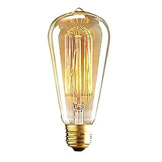 ALK E27 25 W ST64 Glühlampe Vintage Edison Tungsten Filament Lampe Vintage Stil Glühbirne Eichhörnchen Käfig kohlefadenlamp Retro klar Glas hellgrün birne für Bar Home Party Beleuchtung Source (25 W)