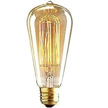 ALK E26E2740W ST64jaula de ardilla EDISON filamento de tungsteno bombilla incandescente Retro cristal transparente para Bar casa fiesta iluminación fuente de luz (40W)