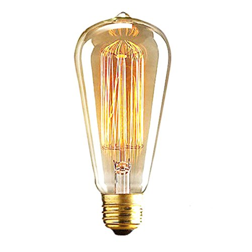 ALK E26 E27 22W ST64 Vintage Edison Tungsten Filament Incandescent Bulb Squirrel Cage Retro Clear Glass Light for Bar Home Party Lighting Source (22W)