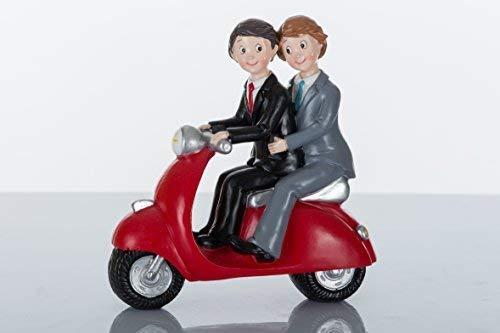 Coppia ragazzi uomini su moto scooter vespa bomboniera cake topper torta unioni civili