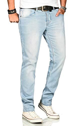 A. Salvarini Designer Herren Jeans Hose Regular Slim Fit Jeanshose Mode Stretch [AS-170-W33 L30]