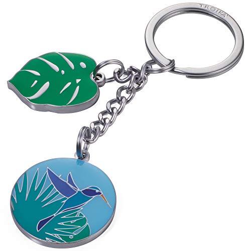 TROIKA NAT GEO KOLIBRI - NG-KR18-11/MA - Schlüsselanhänger mit 2 Anhängern - National Geographic, Umweltbewusstsein- Kolibri, Monstera-Blatt - TROIKA-Original -