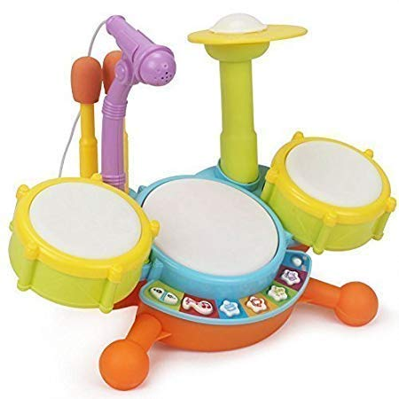 Techno Buzz Deal Kids Drum Set, Drum Set for Kids Electric Toys Toddler Musical Instruments Playset Flash Light Toy with Adjustable Microphone, Toys for Boys and Girls