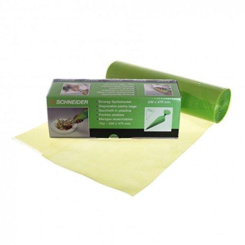 """Schneider 391810 Einweg -Spritzbeutel \""""Eco\"""" gerollt, 470x230 mm - 100 Stück, grün"""