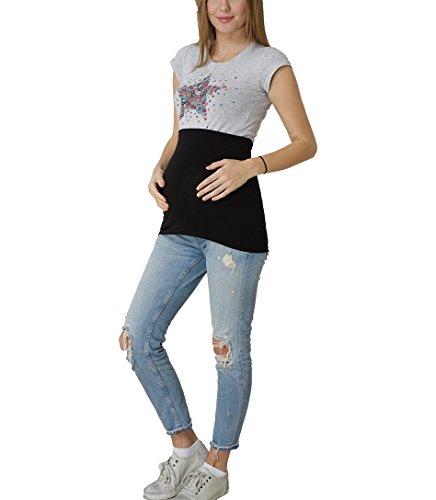Bauchband Schwangerschaft Baumwolle Basic verschiedene Farben und Größen (Schwarz, 34 bis 36)