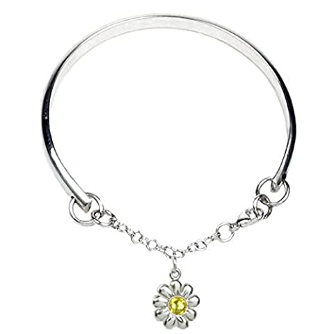 Cœur à cœur Multi Taille Argent sterling Charm Bracelet pour filles de fleurs–Gravure et personnalisé gratuit Box Ribbon–12mois de garantie, Citrine Crystal, 0-5
