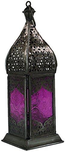 che Metall/Glas Laterne in Marrokanischem Design, Windlicht, Lila, Eisen, Farbe: Lila, 23x7,5x7,5 cm, Deko Teelicht, Teelichtgefäße ()