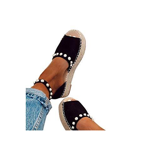 Damen Espadrilles Sandalen mit Leoparden Print, Plateausohle Strandsandalen Schnalle Sommer Bequeme Elegante Sandaletten Celucke (Schwarz, EU38) - Sandalen Stoff Damen Schuhe Keil