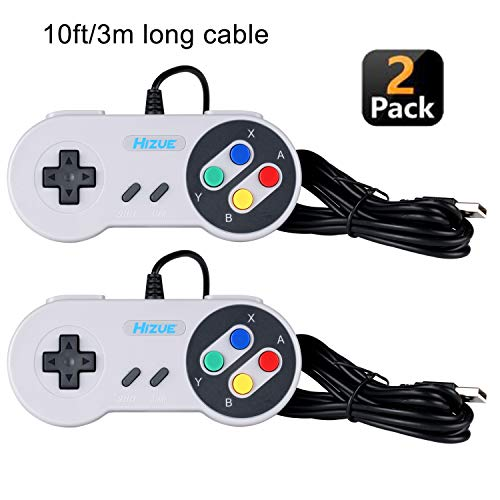 Hizue Snes Usb Controller Gamepad (2 Pack,10ft/3M), Super SFC PC Joystick SNES Giochi per PC,MAC,Windows,Ubuntu Linux,Android/RetroPie,Raspberry Pi 3,Recalbox/Genesis,SNES,NES