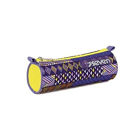 ESTUCHE escolar – SEVEN – ETHNIC – violeta amarillo