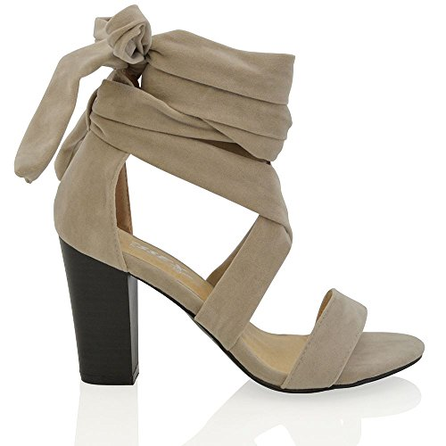 ESSEX GLAM Damen Schnürer Blockabsatz Kolbig Peep Toe Sandalen Party Schuhe Grau Wildlederimitat