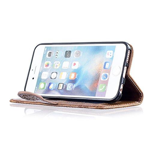 Aeeque® iPhone 6S plus 5.5 pouces Blanc Etui, Luxe Fille et Fleur Motif Dessin Housse Case en Cuir pour les iPhone 6 plus (2014)/6S plus (2015) avec Support/ Pochette/ Magnétique Fonction Rétro Fleur Brun