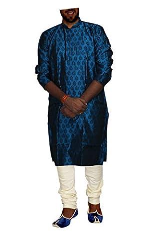 DakshCraft Azure Blue Jacquard / Silk Men Kurta Pajama Extra Large Size