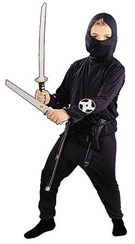 4 tlg. Kostüm Ninja 4 bis 7 Jahre - Gr. 110 - 128 - Samurai Krieger Karneval Kämpfer für Kinder Kind Kinderkostüm Fasching