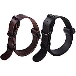 Ritche 2pc Nato Ss Leather Strap Black , Brown Leather Replacement Watch Strap with black clasp