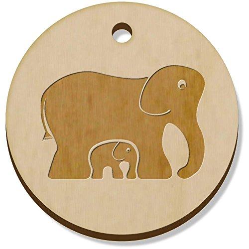 Azeeda 11 x 34mm 'Elefantes' Colgante de Madera (PN00015135)