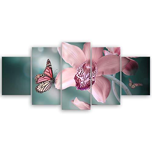 ge Bildet® hochwertiges Leinwandbild XXL Pflanzen Bilder - Orchideen mit Schmetterlingen - Natur Blumen - 150 x 70 cm mehrteilig (5 teilig) 2206 K