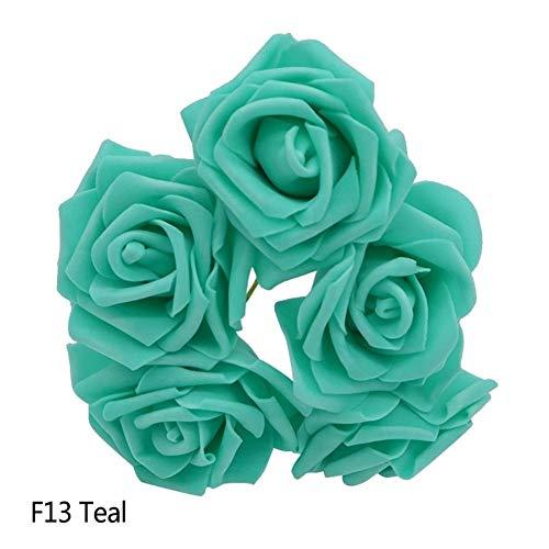 öpfe 8 cm Künstliche PE Schaum Rose Blumen Brautjungfer Bouquet Hochzeit Dekoration Sammelalbum DIY Liefert (Color : Teal, Size : 10 Heads) ()