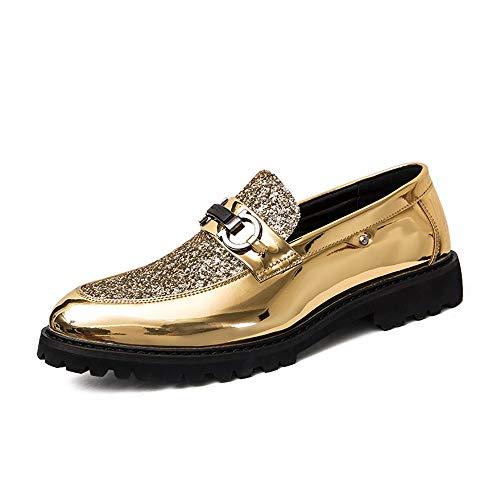 Zhulongjin Männer Party Hochzeitskleid Oxfords for Männer Casual Formal Business Loafers Schuhe Synthetic Patent Leather Sequin Emboss Mode Verschleißfest (Farbe : Gold, Größe : 42 EU) -