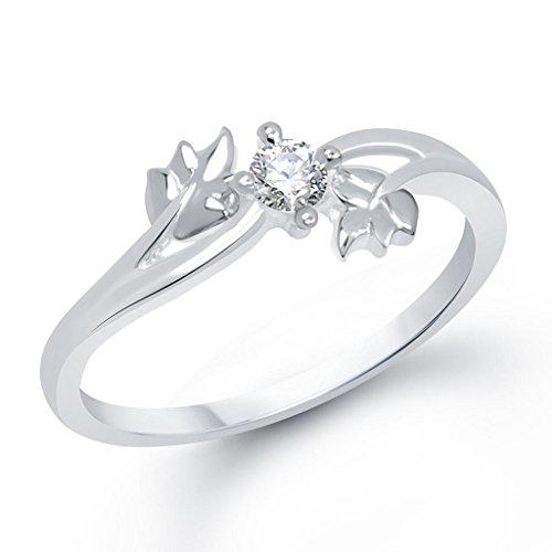 V. K. Jewels Twin Leaf Rhodium Plated Ring For Girls- Fr1187R Size-18...