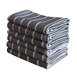 Gryeer Microfibre and Bamboo Kitchen Tea Towels, Super Absorbent Lint-free Dish/Glass Cloth, Cleaning Cloths for Screen, Window, Mirror, 65x45cm, Set of 6 - Grey