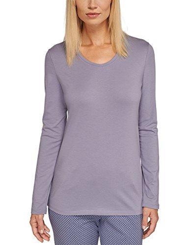 Schiesser Damen Schlafanzugoberteil Mix & Relax Shirt 1/1 Arm, Gr. 46, Grau (hellgrau 204)