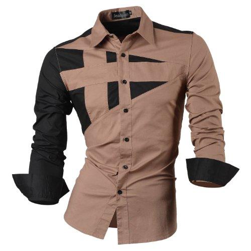 jeansian Homme Chemises Casual Shirt Tops Mode Men Slim Fit 8397 Kaki