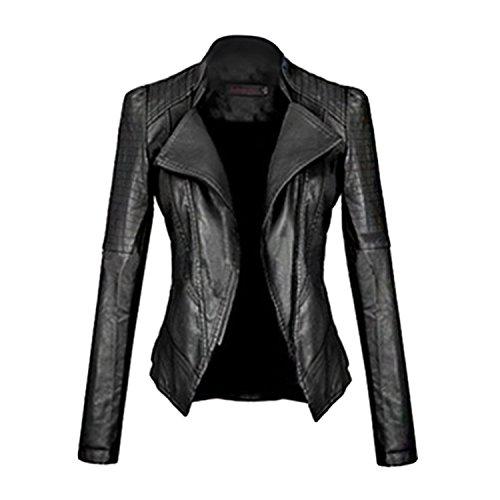 MEXI vintage donne sottile Racer Moto morbida pelle sintetica cerniera giacca cappotto Style 05-Black L