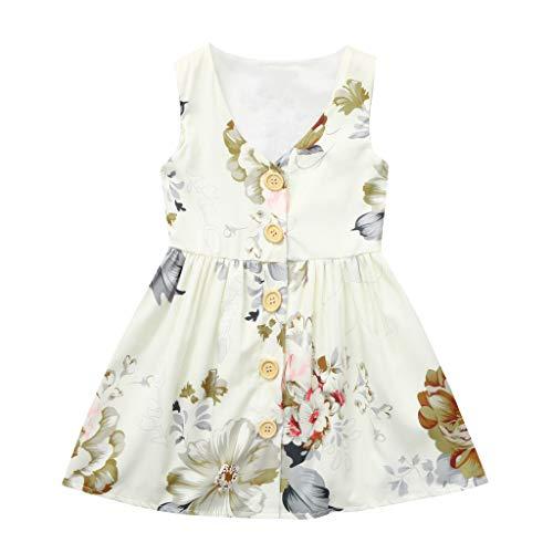 Frashing Kleinkind Scherzt Baby-Sommer-Kleidung Prinzessin Sleeveless Blumenkleid-Outfits Taste Blume Printed Retro Party Casual ()