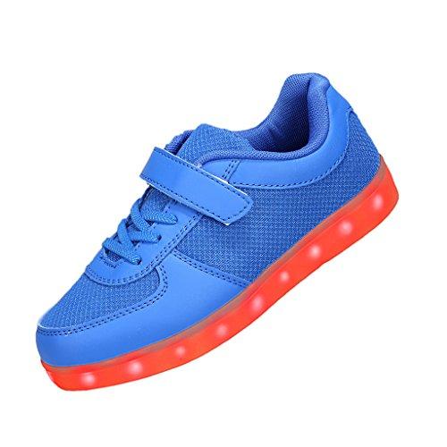 Sgoodshoes Enfants Garçons Filles Summer respirante USB LED de charge Chaussures de sport clignotantes Sneakers Bleu
