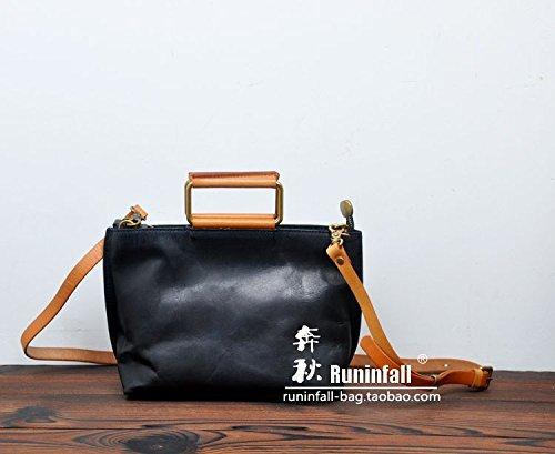 Fermeture à glissière simple vintage original sac en bandoulière sac bandoulière en cuir petit paquet Black