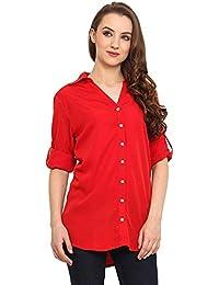 dheylu creation Women's Georgette Shirt (Shirt WEstern_White_X-Large)