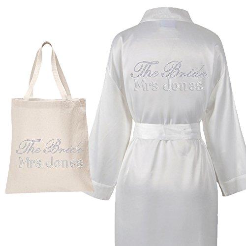 Personalisierte Hochzeit Kleidung (Personalisierbarer luxuriöser Satin-Bademantel & Tasche mit Aufschrift aus Kristallsteinen für die Braut, die Hochzeit, Kimono (Set 2) elfenbeinfarben)