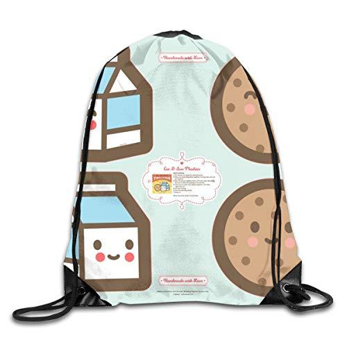 Dama Home Cut-u0026-Sew Plushie 14 Milch U0026 Cookie Drawstring Rucksack Rucksack Umhängetaschen Sport Sporttasche Reisen (Cookies Und Milch)