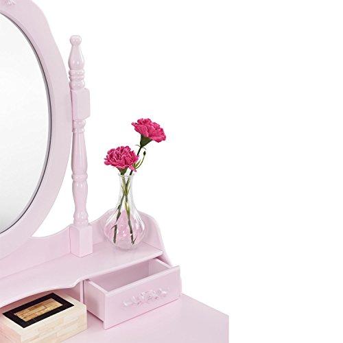 """Schminktisch """"Mira"""" rosa / pink mit Spiegel und Hocker - 4"""