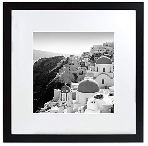 Golden State Art Smartphone Instagram Rahmen Collection, 12x 12Zoll Quadrat Foto Holz-Rahmen mit Foto Matte & Echtglas für 20,3x 20,3cm Bilder, Schwarz