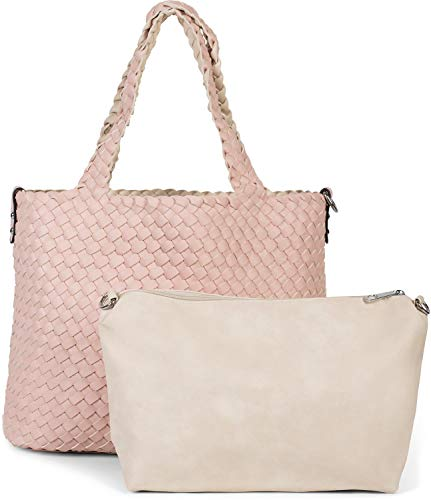 Rose Shopper (styleBREAKER XXL Wendetasche in Flecht-Optik, Shopper Tasche, 2 Taschen, Handtaschen Set, Bag in Bag, Schultertasche, Damen 02012163, Farbe:Rose/Beige)