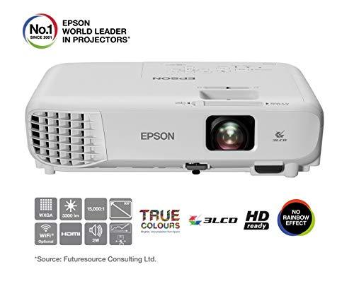 """Foto Epson EB-W05 Videoproiettore WXGA 3LCD, HDMI, 3.300 Lumen, Contrasto 15.000:1, WI-FI opzionale, Lampada UHE di Lunga Durata, Immagini fino a 320"""""""
